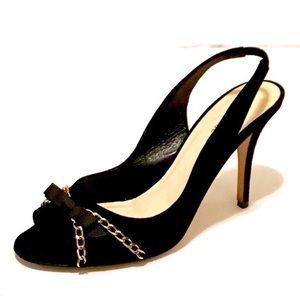 Kate Spade black suede peep toe slingback